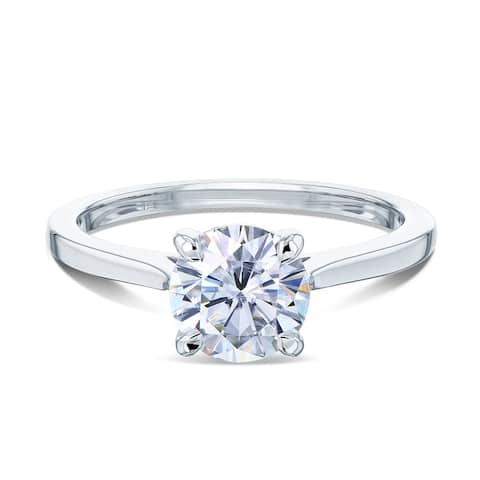 Annello by Kobelli 14k Gold 1ct Round Moissanite Taper Shank Cathedral Basket Prong Solitaire Engagement Ring (FG/VS)