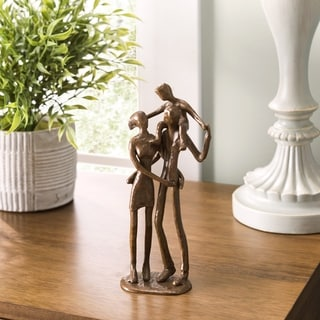 Danya B. Couple with Child on Shoulders Bronze Sculpture
