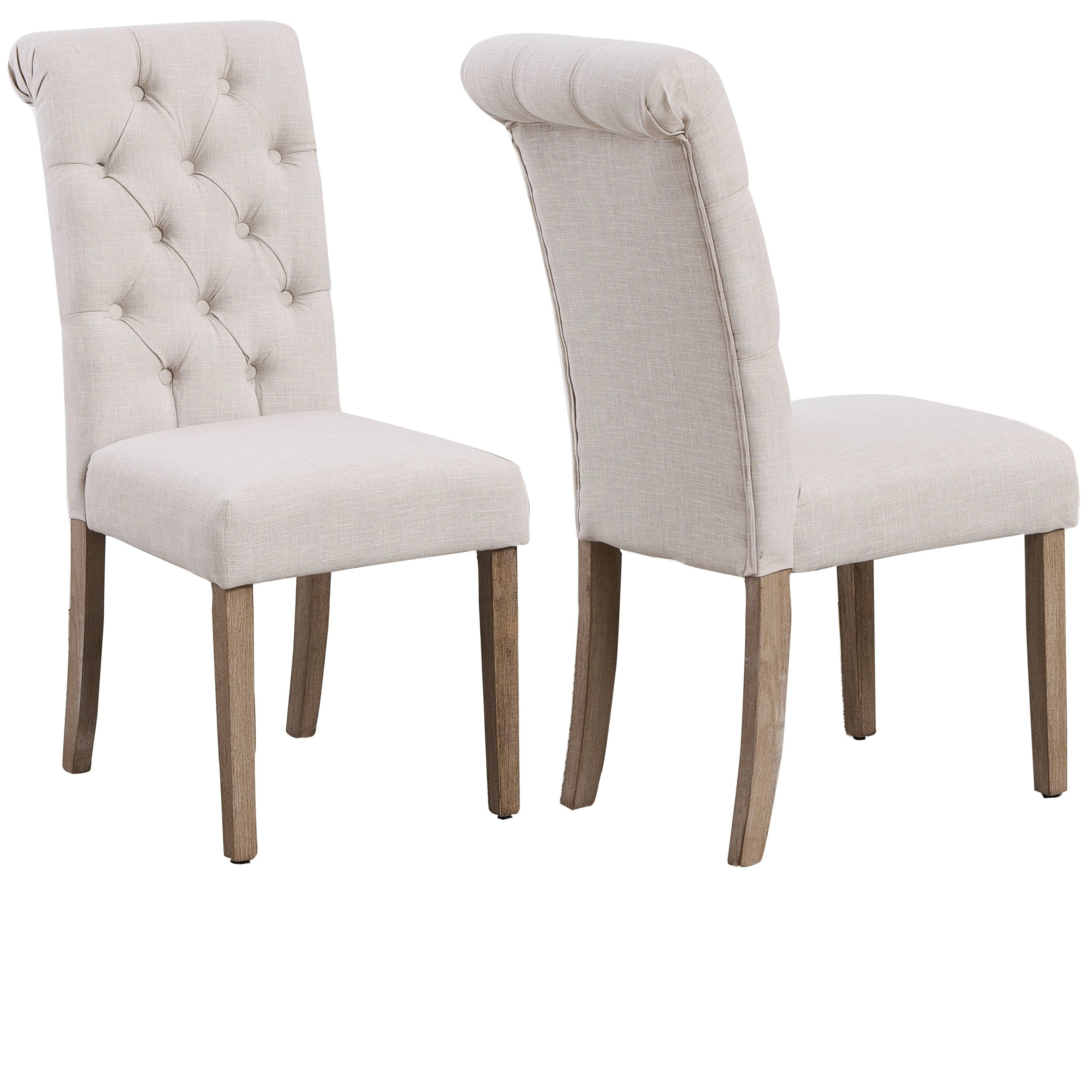 High Back Linen Ivory Tufted Upholstered Dining Chairs Set Of 2 Beige N A Overstock 29083430