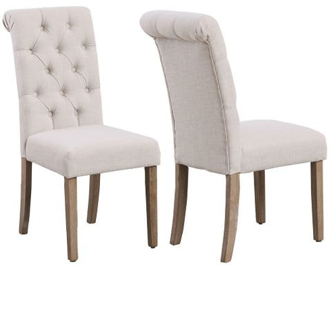High Back Linen Ivory Tufted Upholstered Dining Chairs, Set of 2, Beige - N/A