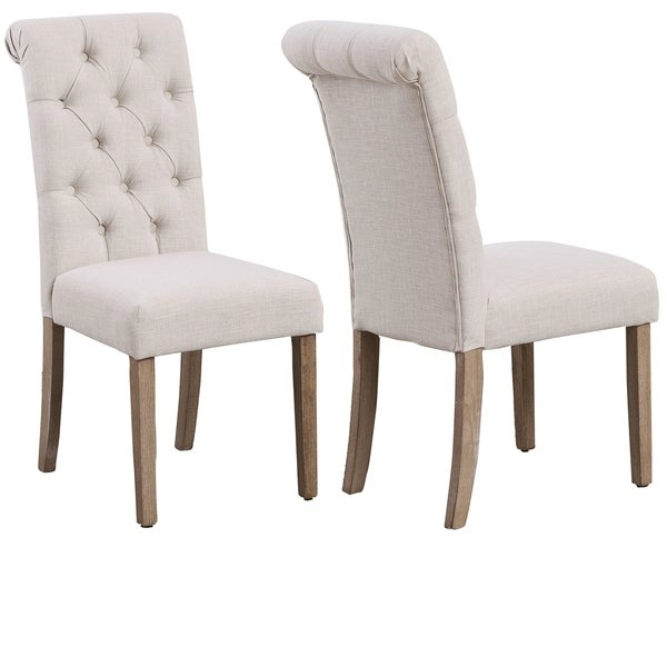 High Back Linen Ivory Tufted Upholstered Dining Chairs, Set of 2, Beige - N/A. Opens flyout.