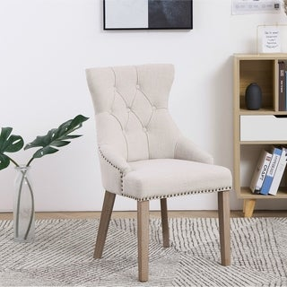 French High Back Tufted Upholstered Dining Chair , Set of 2 Ivory Beige