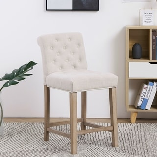 Beige Tufted Upholstered Dining Bar Stool Chairs, Set of 2, Ivory