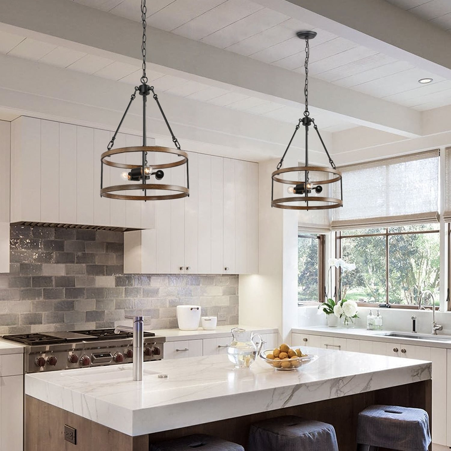 Shop Black Friday Deals On Lnc Farmhouse Mini Chandelier Lighting Kitchen Lighting With Drum Frame W15 8 X H22 8 Overstock 29083508
