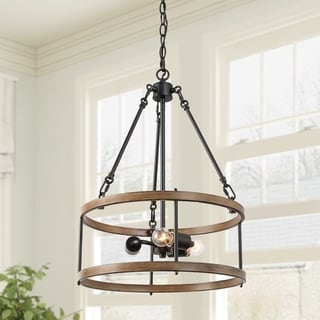 """Link to LNC Farmhouse Mini Chandelier Lighting Kitchen Lighting with Drum Frame - W15.8"""" x H22.8"""" Similar Items in Chandeliers"""
