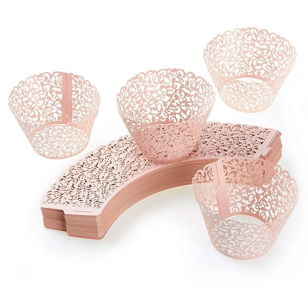 100PCS Cupcake Liners Weddings Lace Cupcake Wrappers Birthdays Party Decor, Pink