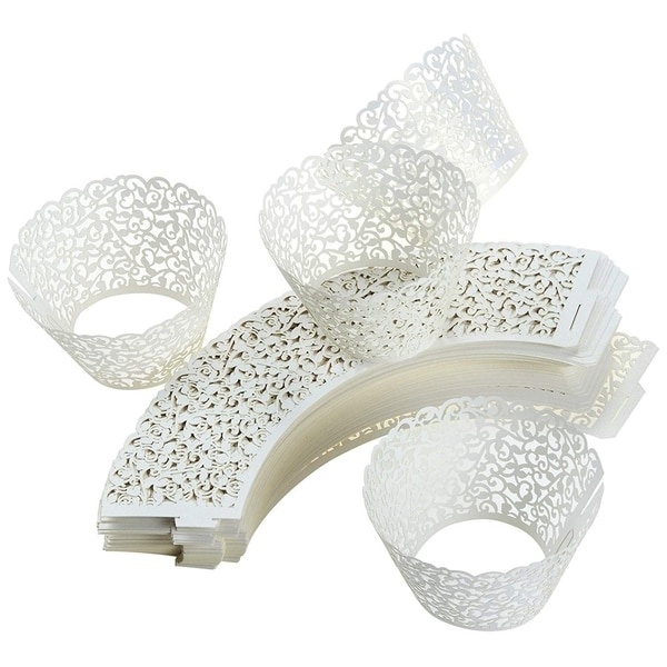 100PCS Cupcake Liners Weddings Lace Cupcake Wrappers Birthdays Party Decor White