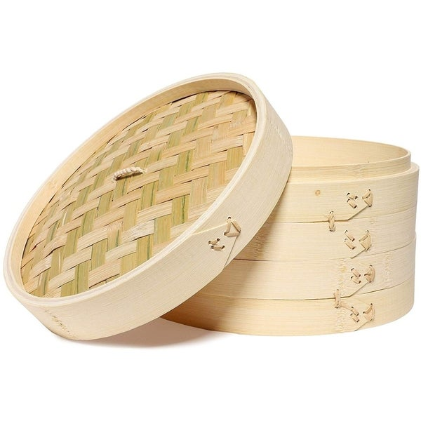 """Juvale 3-Piece Set 10"""" Bamboo Steamer Basket for Dim Sum, Buns, and Dumplings. Opens flyout."""