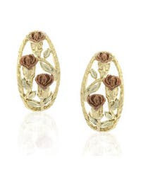Mondevio Sterling Silver Two-tone Gold Overlay Rose Earrings