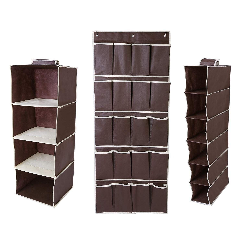 Juvale 3 Piece Set Bedroom Hanging Closet Organizer 4 Shelf 6 Shelf 20 Pocket