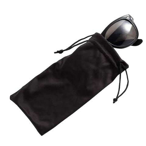 "20-Pack Eyeglass Pouches, Microfiber Drawstring Sunglass Bags, Black, 7 x 3.3"""