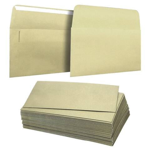 50-Pack A4 Square Flap Envelopes Metallic Gold for Wedding Party Invitation