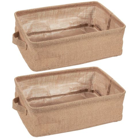 2 Pack Collapsible Linen Fabric Storage Bin Basket with Handle For Cloth Storage