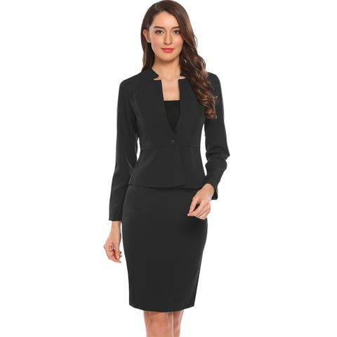 Women's Long Sleeve Slim One Button Blazer OL Work Party Pencil Dress Suit