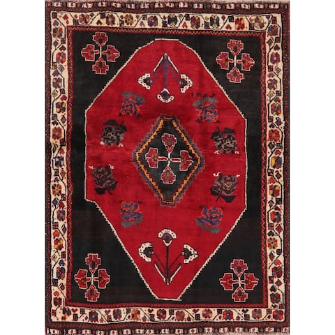 "Traditional Shiraz Carpet Hand Knotted Wool Oriental Persian Area Rug - 5'7"" x 4'3"""