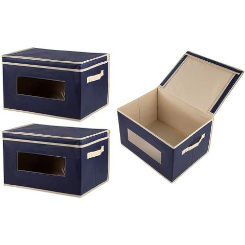 3-Pack Navy Blue Decorative Fabric Foldable Storage Cube Bin Lid Clear Windows