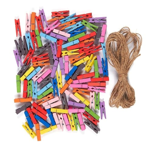 Mini Natural Wooden Clothespins - 100-Piece Colorful Clothespins with Jute Twine