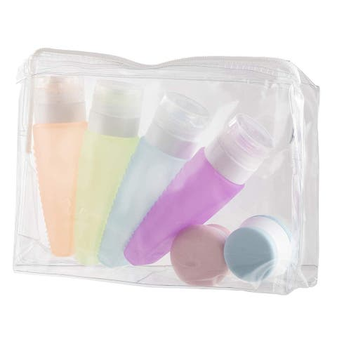 6 Pack Portable Silicone Travel Bottles and Cream Jars for Toiletries Organizer