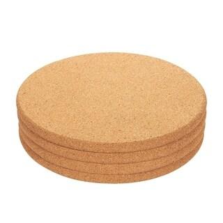 "4x Cork Trivet Round Corkboard Set Placemats Kitchen Pad Pot Pan Kettle 9x9x0.5"""