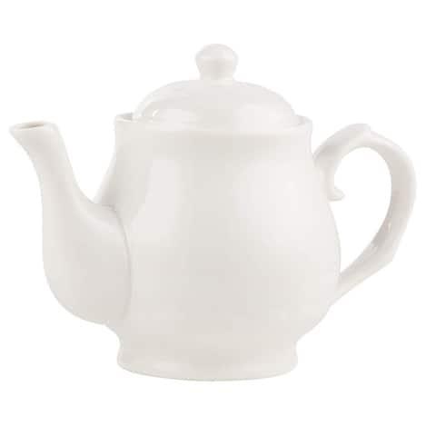 27 oz Pure White Porcelain Tea Pot Stylish China Teapot for 3-4 Cups BPA Free