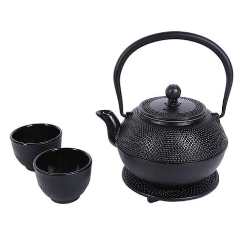 Cast Iron Tea Kettle 2 Cups Set Contemporary Dutch Hobnail Style w/Trivet 1200ml
