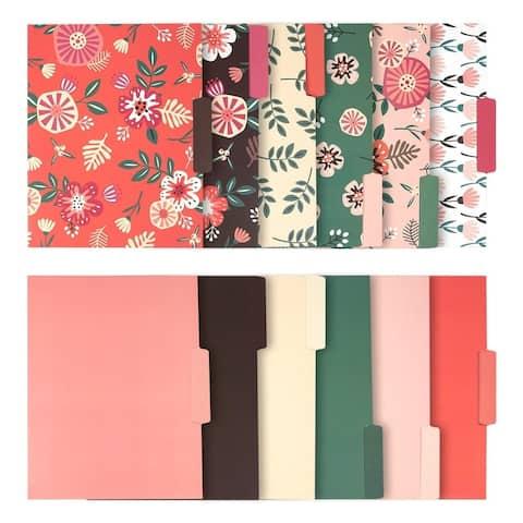 12-Count Decorative File Folder Colored File Folder Letter Size Filing Organizer