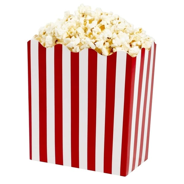 50 Paper Popcorn Boxes Paper Party Favor Treat Box Red White Circus 6.5x3.5x6 in. Opens flyout.