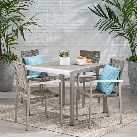 Peridot Outdoor Modern 4 Seater Aluminum Dining Set with Tempered Glass Table Top by Christopher Knight Home