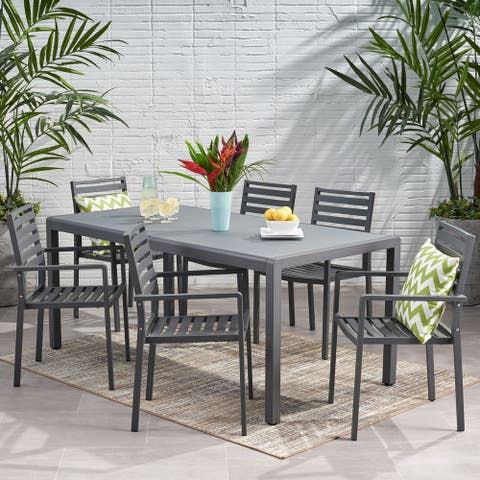 Cape Coral Outdoor 6-seater Aluminum Dining Set by Christopher Knight Home