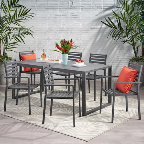 Paz 6 Seater Aluminum Dining Set by Christopher Knight Home