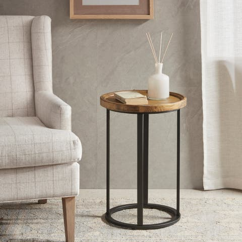 Martha Stewart Reclaimed Oak/Iron Round Accent Table