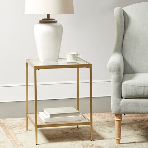 Martha Stewart Antique Gold Glass Top Square Accent Table