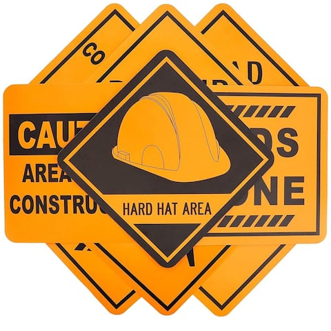 16-Pack Under Construction Zone Sign Cutouts for Kids, Party, Assorted, 12 x 12""