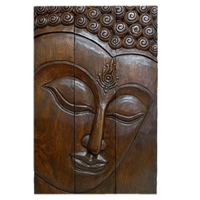 Large Buddha Panel: Large Acacia Wood Three-Panel Buddha Face, Handmade In