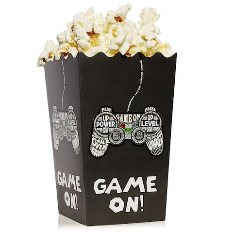 100 Popcorn Box 46oz Open Top Party Favor Container Video Game Print 3.7x3.7x7.8