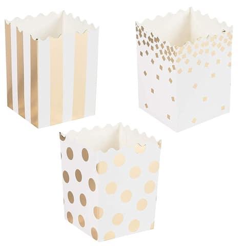 60 Popcorn Boxes 16oz Mini Paper Party Favor Treat Containers Gold Foil 3x4x2.8