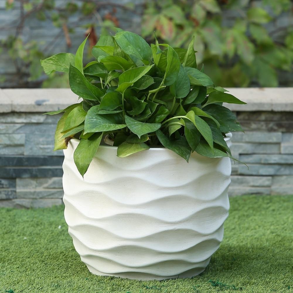 White Wavy Design Planter (Large)