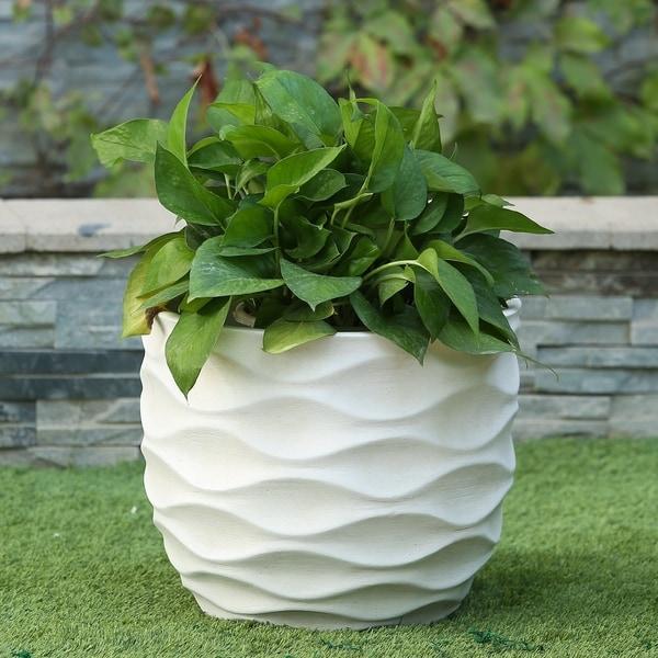 White Wavy Design Planter Large