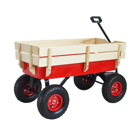 Leisure Zone Outdoor Wooden Wagon
