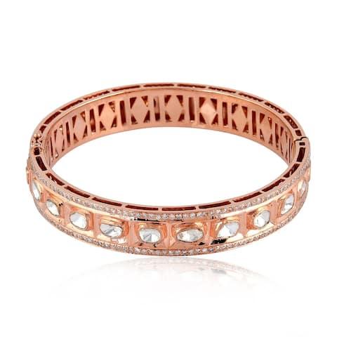 Gold 18k Diamond Designer Bangle Uncut And Rose Cut Diamond Jewellery