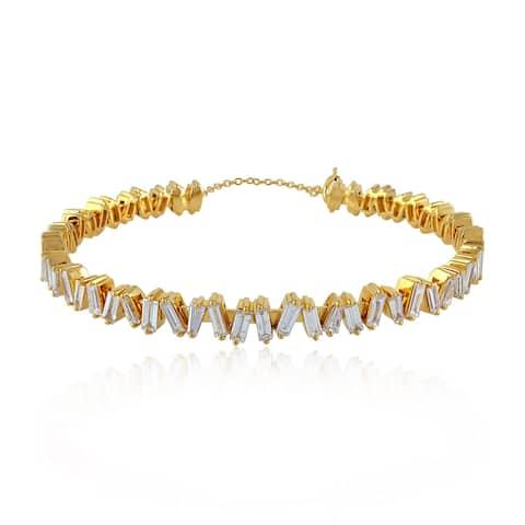 Gold 18Kt Diamond Designer Cuff Bangles Baguette Jewelry