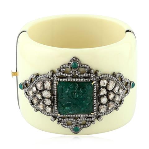 18Kt Gold 925 Silver Diamond Carving Bakelite Emerald Designer Bangle Bakelite Jewelry With Jewelry Box