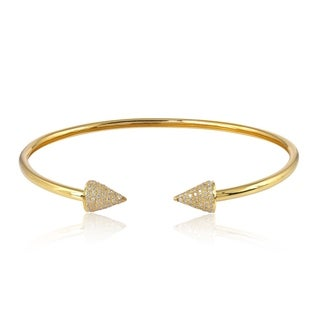 Gold 18Kt Diamond Cone Cuff Bangles Pave Jewelry