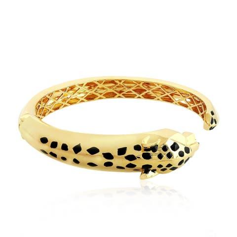 Gold 18Kt Dragon Emerald Cuff Designer Bangles Enamel Jewelry With Jewelry Box