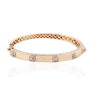 Gold 18Kt Diamond Designer Bangle Pave Jewelry