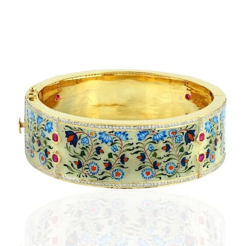 18Kt Gold 925 Silver Diamond Flower Ruby Designer Bangle Picture Enamel Jewelry With Jewelry Box