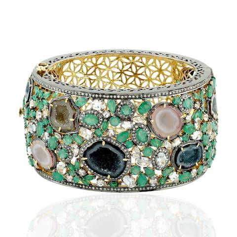 18Kt Gold 925 Silver Diamond Uneven Emerald Geode Sapphire Bangle Geode Jewelry