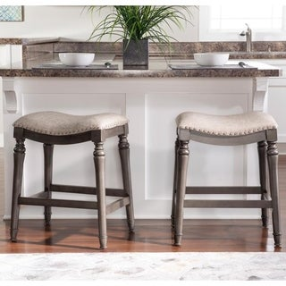 Link to Copper Grove Barmstedt Grey Counter Stool with Saddle Seat - N/A Similar Items in As Is