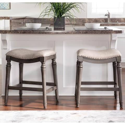 Copper Grove Barmstedt Grey Counter Stool with Saddle Seat