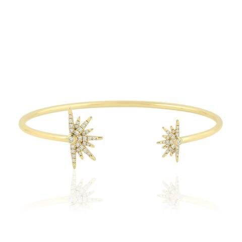 Gold 18Kt Diamond Star Burst Cuff Designer Bangles Micro Pave Jewelry With Jewelry Box